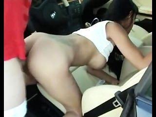 Hot Brunette Ass Fucked In Car