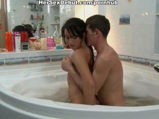 Romantic night and sexy hardcore fuck in the foamed bath